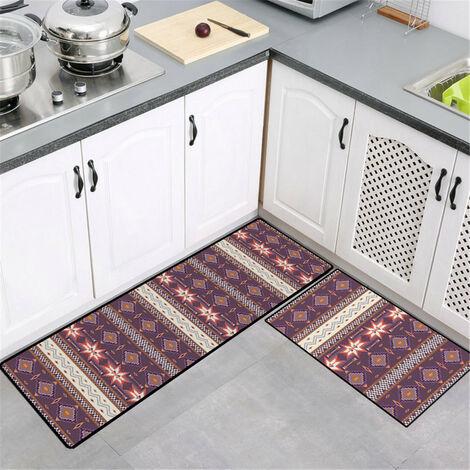 50x160cm Large Mise à niveau des tapis de cuisine antidérapants doux modernes Tapis de porte Tapis de salle de bain (X6 50x160CM)