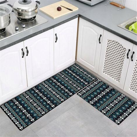 50x160cm Large Mise à niveau des tapis de cuisine antidérapants doux modernes Tapis de porte Tapis de salle de bain (X7 50x160CM)