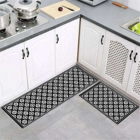 50x160cm Large Mise à niveau des tapis de cuisine antidérapants doux modernes Tapis de porte Tapis de salle de bain (X8 50x160CM)