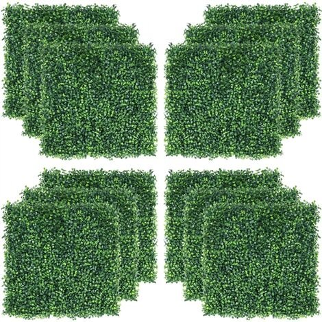 50x50cm Artificial Boxwood Decorative Fences Topiary Plastic Panel Ivy Screening Hedge Fence for Home Decoration Garden Oranments Indoor & Outdoor Green 12 Pcs