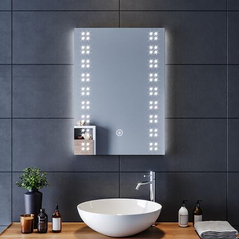 50x70 CM 14W Miroir de salle de bains avec éclairage LED Miroir Cosmétiques Mural Lumière Illumination avec Commande par Effleurement et demister ELEGANT
