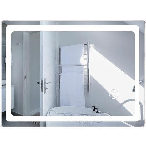 50x70cm LED Miroir de Salle de Bain Mural - Blanc Froid - Commutateur Tactile Haute Qualité