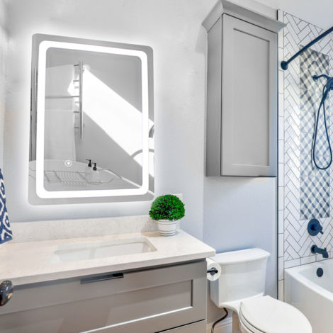 50x70cm Miroir de Salle de Bain LED Lumière Blanc Froid