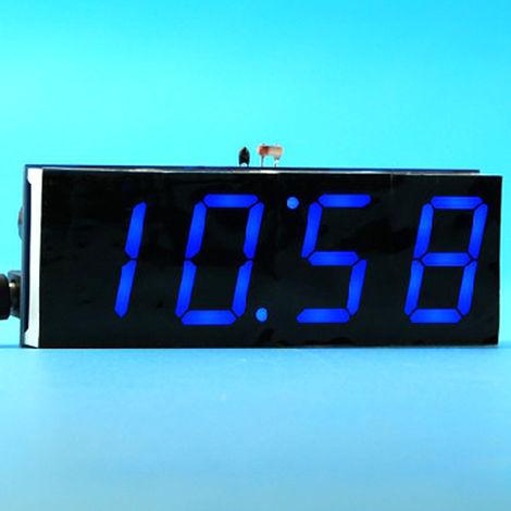 51 de un solo chip de microordenador Luz-control de la pantalla LED digital reloj electronico Haciendo Kit, azul