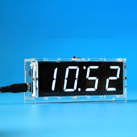 51 de un solo chip de microordenador Luz-control de la pantalla LED digital reloj electronico Haciendo Kit, blanco