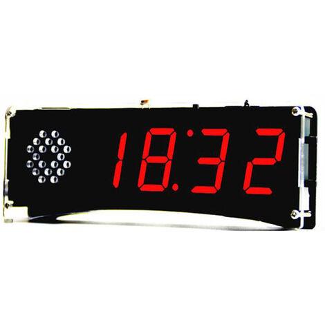 51 de un solo chip de microordenador Luz-control de la pantalla LED digital reloj electronico Haciendo kit de bricolaje Accesorios Fabricacion de piezas con funcion de voz, Rojo