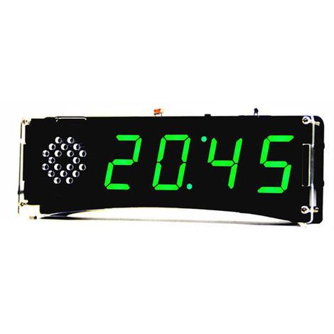 51 de un solo chip de microordenador Luz-control de la pantalla LED digital reloj electronico Haciendo kit de bricolaje Accesorios Fabricacion de piezas con funcion de voz, Verde