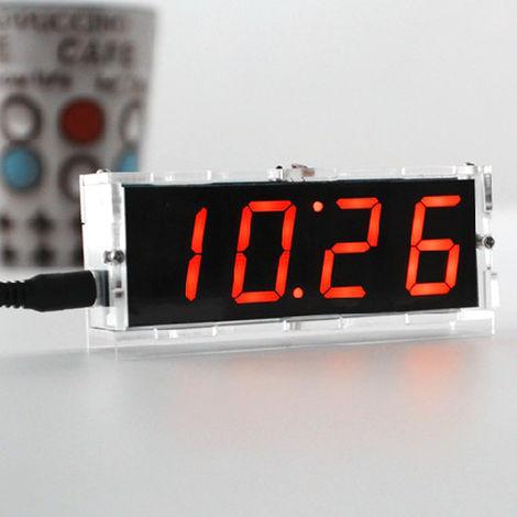 51 de un solo chip de microordenador Luz-control de la pantalla LED digital reloj electronico Haciendo Kit, naranja