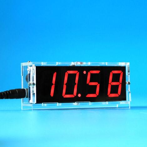 51 de un solo chip de microordenador Luz-control de la pantalla LED digital reloj electronico Haciendo Kit, rojo