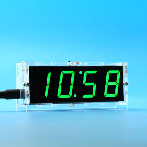 51 de un solo chip de microordenador Luz-control de la pantalla LED digital reloj electronico Haciendo Kit, verde