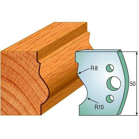 510 : Jeu de fers moulure montant ( 50 x 4 mm ) porte outils toupie