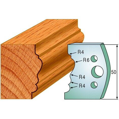 511 : Jeu de fers moulure montant ( 50 x 4 mm ) porte outils toupie