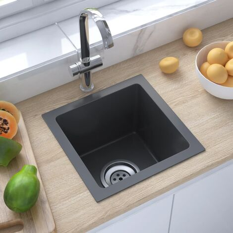 "main image of ""51499 vidaXL Handmade Kitchen Sink Black Stainless Steel - Black"""