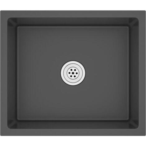 "main image of ""51503 vidaXL Handmade Kitchen Sink Black Stainless Steel - Black"""