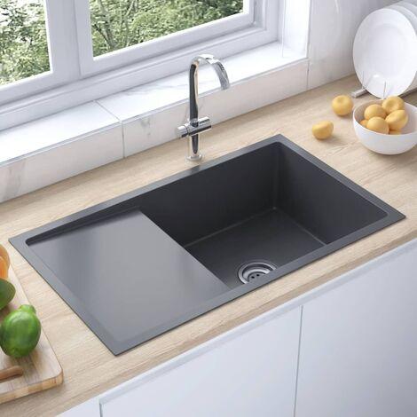 "main image of ""51521 Handmade Kitchen Sink Black Stainless Steel34811-Serial number"""