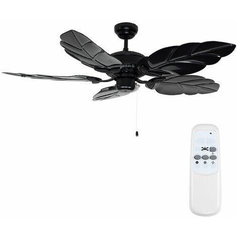 """52"""" Matt Black Metal Ceiling Fan + 5 x Leaf Blades & Handy Remote Control"""