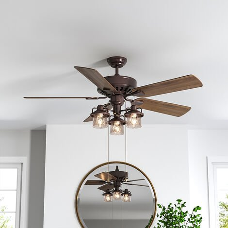 """main image of """"52"""" Retro Ceiling Fan Light with Remote Control 5 Blades Brown"""""""
