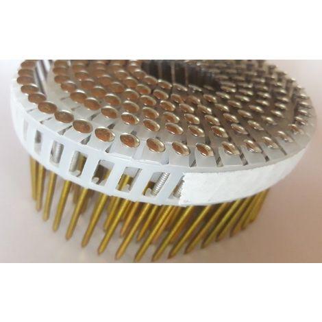5250 POINTES CLOUS ROULEAUX PLATS 15/16° 2.6 x 50 Annelées Inox A2 Plate