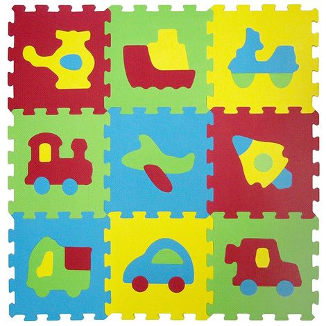 529054 Alfombra puzzle eva 10 pz del juego modular VEHÍCULOS 32 x 32 x 1 cm