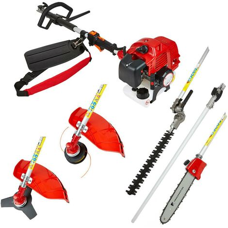52cc Petrol 5-in-1 Garden Multi Tool Grass Trimmer Brush Cutter Chainsaw Pruner