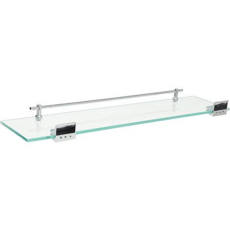 52cm bathroom tub shower glass shelf rack caddy wall mount