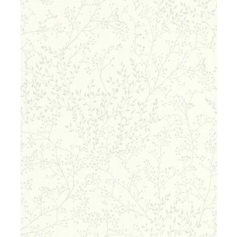 5326 - Papier Expansé sur intissé Feuillage Blanc