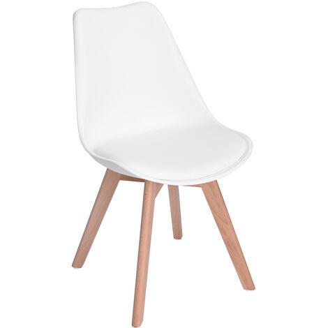 5411 Lot de 4 Chaises de Salle à Manger Scandinaves - Plastique PU Cuir - Pieds Hêtre Bois - Blanc