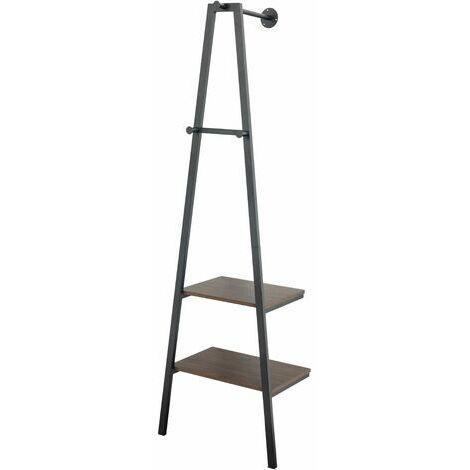 5437 Armario de diseño industrial, 2 estantes, 3 ganchos, almacenamiento, con estructura de metal, para salón, cocina, negro