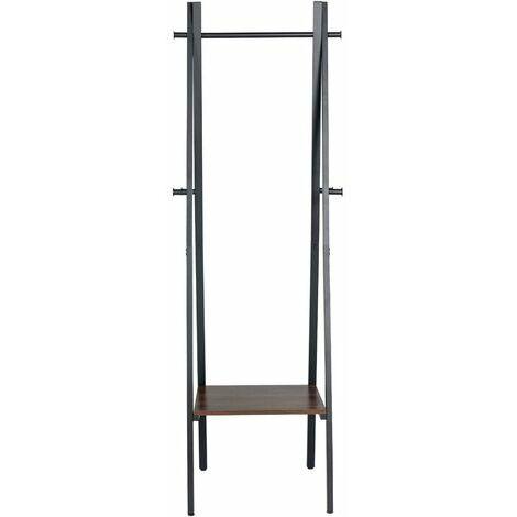 """main image of """"5445 Armario de diseño industrial, 1 estantes, 6 ganchos, almacenamiento, con estructura de metal, para salón, cocina, negro"""""""