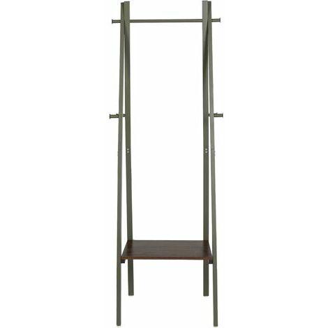 5447 Armario de diseño industrial, 1 balda, 6 ganchos, almacenamiento, con estructura de metal, para salón, cocina, verde