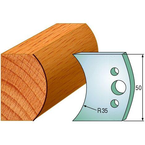 548 : Jeu de fers demi rond R = 35 mm ( 50 x 4 mm ) porte outils toupie