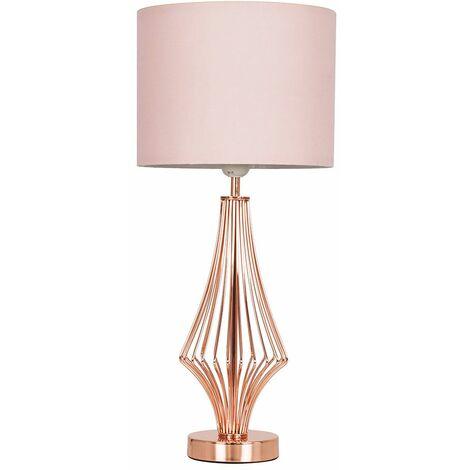 54Cm Copper Metal Geometric Diamond Table Lamp + Beige Shade - 6W LED Gls Bulb Warm White - Copper