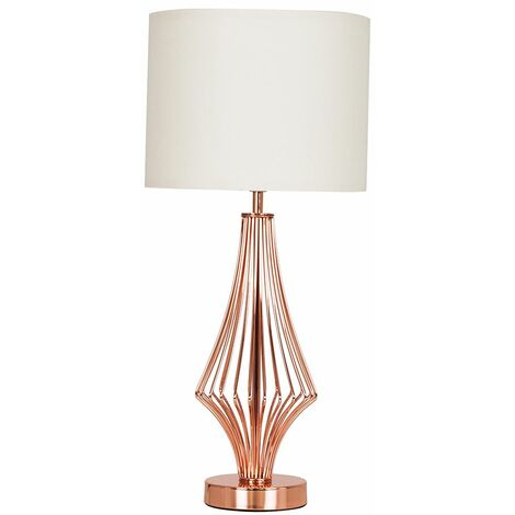 54Cm Copper Metal Geometric Diamond Table Lamp + Beige Shade