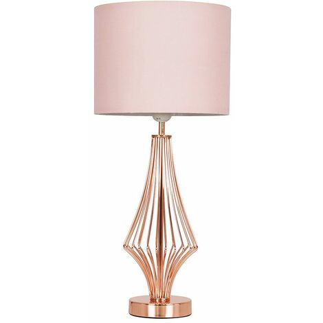 54Cm Copper Metal Geometric Diamond Table Lamp + Pink Shade