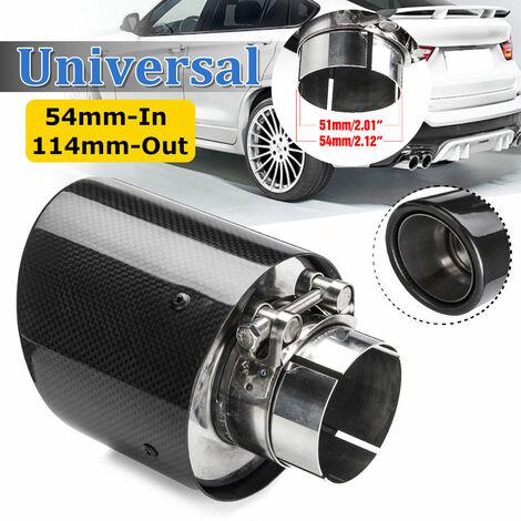 54mm-entrée 114mm-sortie en Fiber de carbone brillant embout d'échappement de voiture silencieux universel pour BMW pour Benz pour Audi pour VW embouts de tuyaux