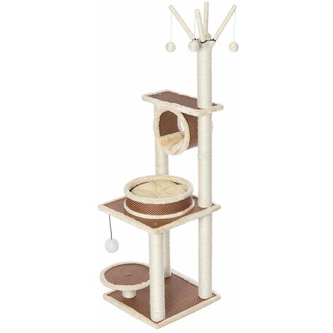 55 '' Large Play Tower Scratcher Sisal Scratching Post Activity Center