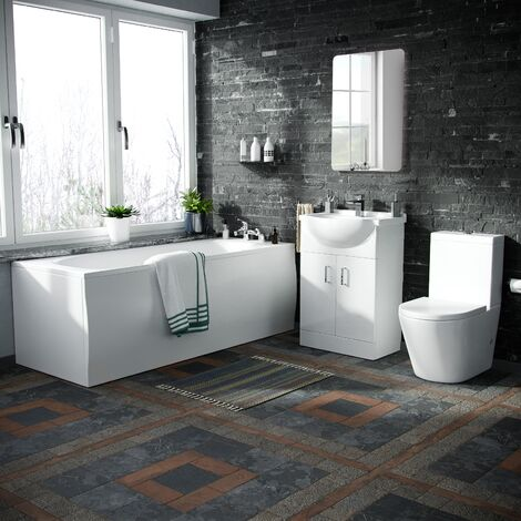 550 Basin Vanity Unit, Close Coupled WC Toilet with Straight Edge Bath Bathroom Suite