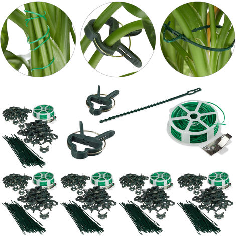 550-Pc Set, Plant Growing Supports, Stable Plant Clips, Twist Ties, Binding Wire Reel with Cutter, Green
