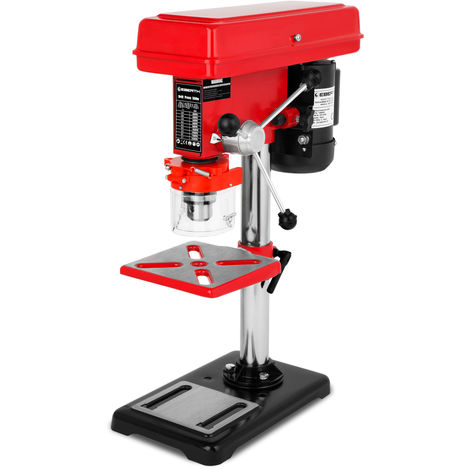550 Watt Tischbohrmaschine (60mm Spindelhub, Bohrfutter Ø3-16 mm, 9 Geschwindigkeitsstufen, neigbarer und schwenkbarer Bohrtisch)