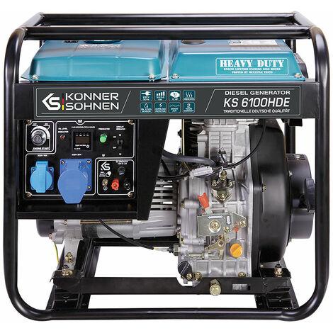 5500 Watt DIESEL E-Start Stromerzeuger, 1x16A (230V), 1X32A (230V), 12V, Automatischer Voltregler (AVR), Anzeige (Volt, Hz, Arbeitszeit), KS 6100HDE, Generator, 100% Kupfer