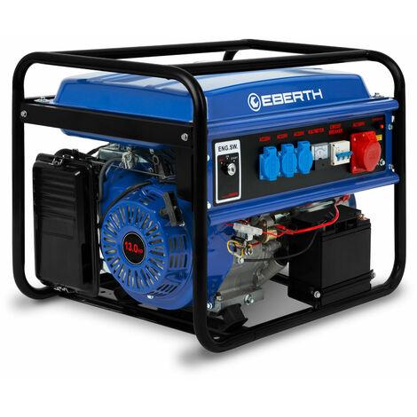 5500 Watt Générateur électrique (E-Start, 6,5 CV Moteur à essence 4 temps, Refroidi à lair, 1x 400V, 3x 230V, 1x 12V, Régulateur de tension automatique AVR, Alarme manque dhuile, Voltmètre, Batterie) Groupe électrogène