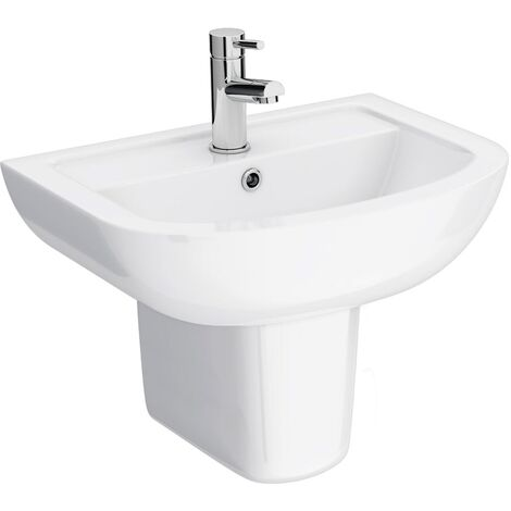 550mm Basin With Semi Pedestal - 1 Tap Hole