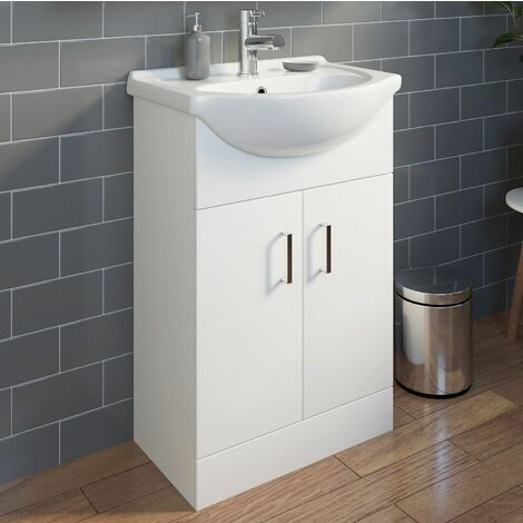 550mm Bathroom Vanity Unit & Basin Sink Gloss White Tap and Waste