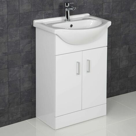 550mm Bathroom Vanity Unit & Basin Sink Gloss White Tap + Waste