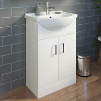 550mm Bathroom Vanity Unit & Basin Sink Gloss White Tap + Waste