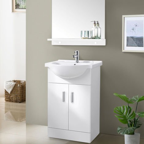 550mm White Basin Vanity Unit Sink Cabinet Bathroom Storage Furniture