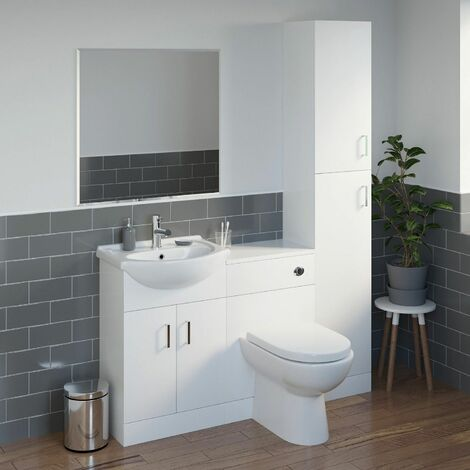 550mm White Vanity Unit Basin Sink and Toilet Tall Unit Bathroom Furniture Suite