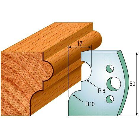 551 : Jeu de fers moulure ( 50 x 4 mm ) porte outils toupie