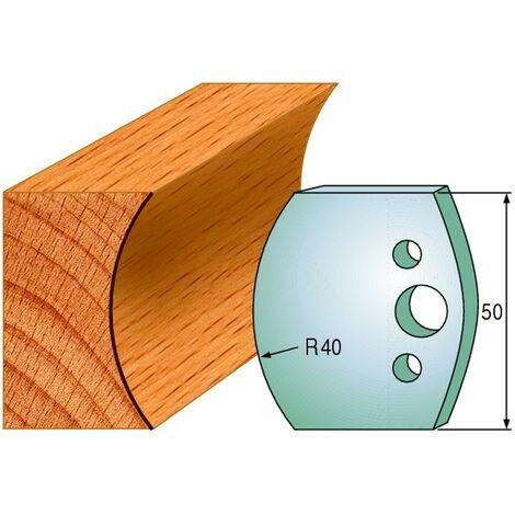 553 : Jeu de fers congé R = 40 mm ( 50 x 4 mm ) porte outils toupie