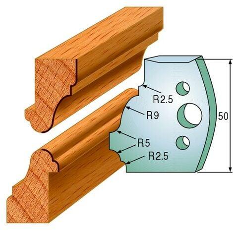558 : Jeu de fers multi moulures ( 50 x 4 mm ) porte outils toupie